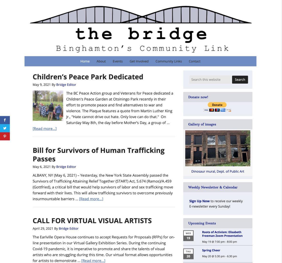 A community website for the Binghamton NY area.  Visit website binghamtonbridge.org