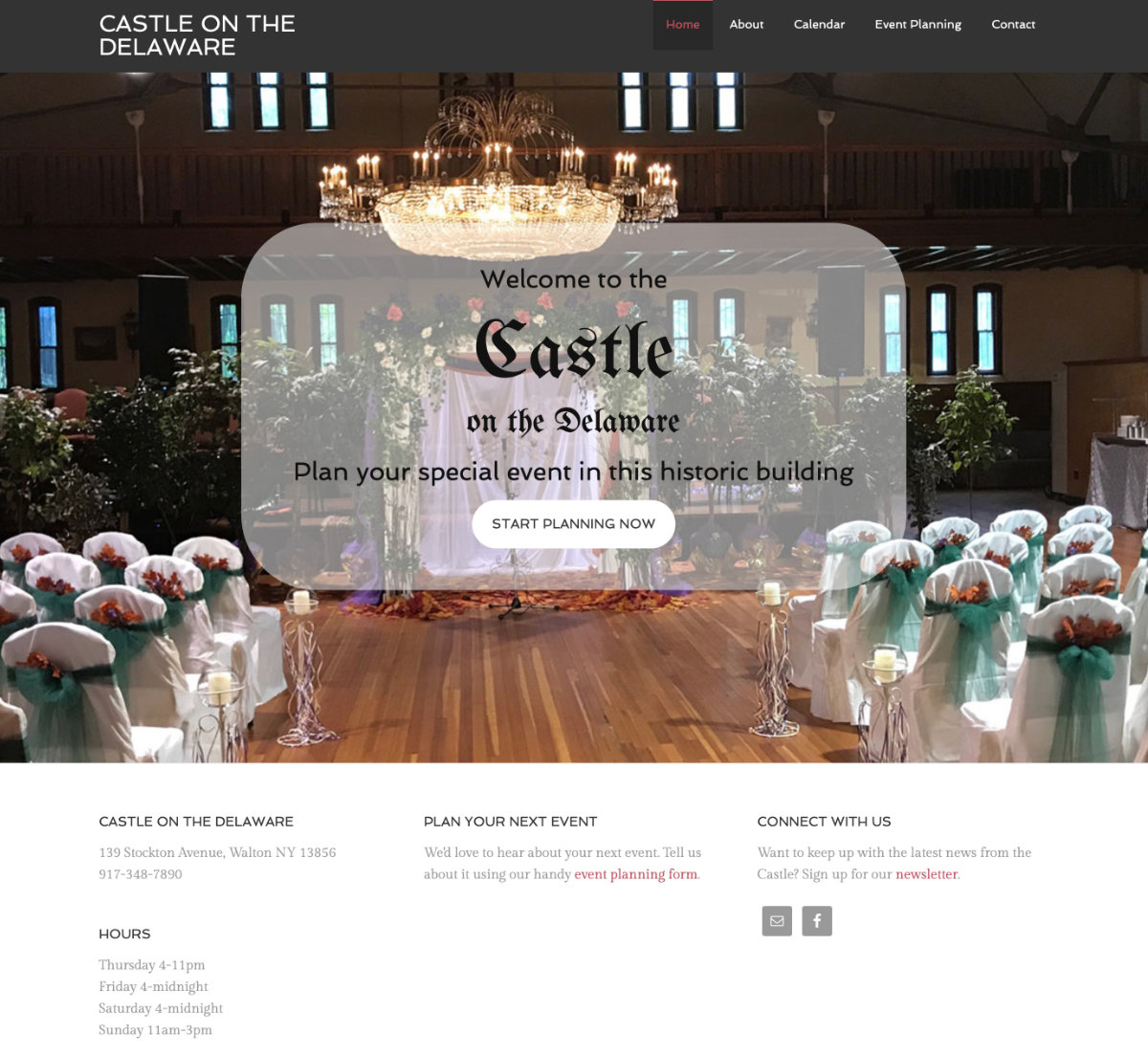 An event website for the unique venue known as Castle on the Delaware, previously an armory in Walton NY.  Visit website castleonthedelaware.com
