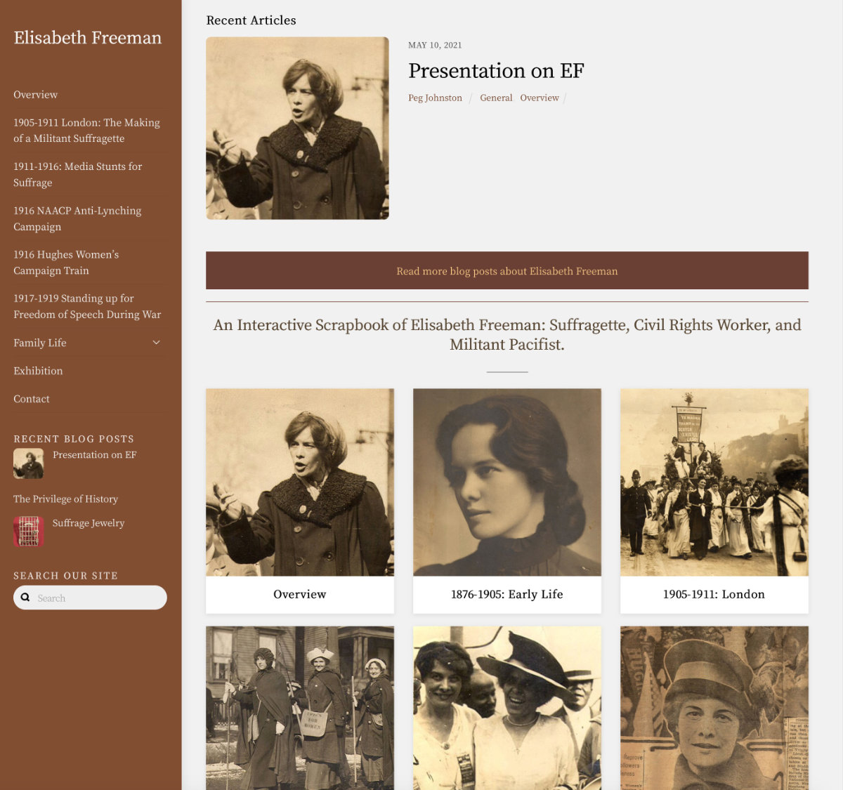 A website highlighting the activities of Elisabeth Freeman: Suffragette, Civil Rights Worker, and Militant Pacifist.  Visit website elisabethfreeman.org