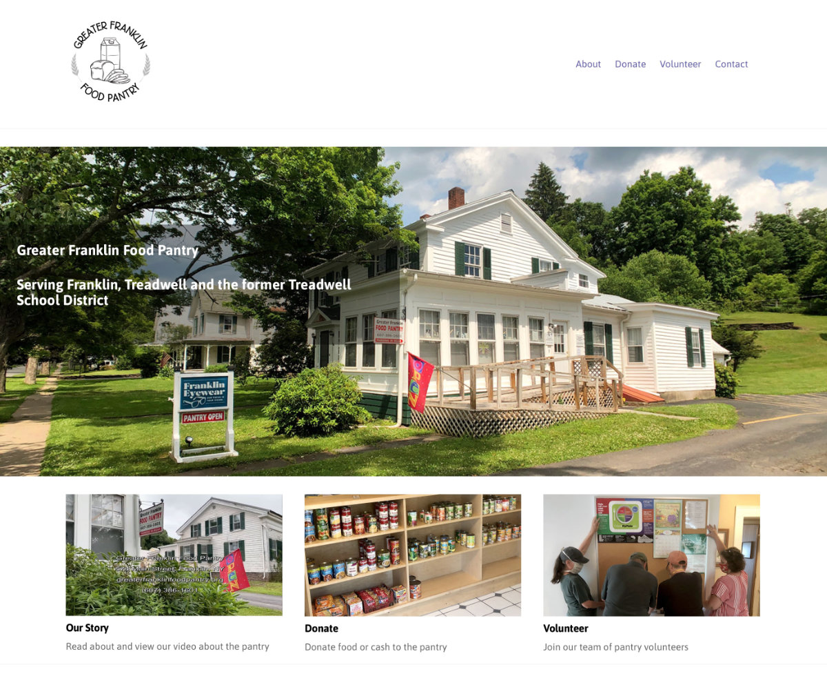 A website for the pantry serving the Franklin/Treadwell NY area  Visit website greaterfranklinfoodpantry.org