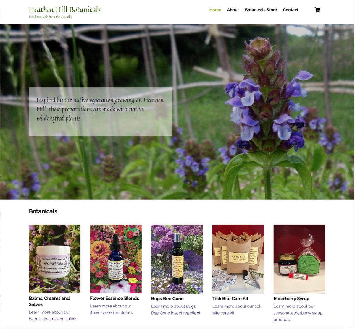 A website for selling botanical products.  Visit website heathenhillbotanicals.com