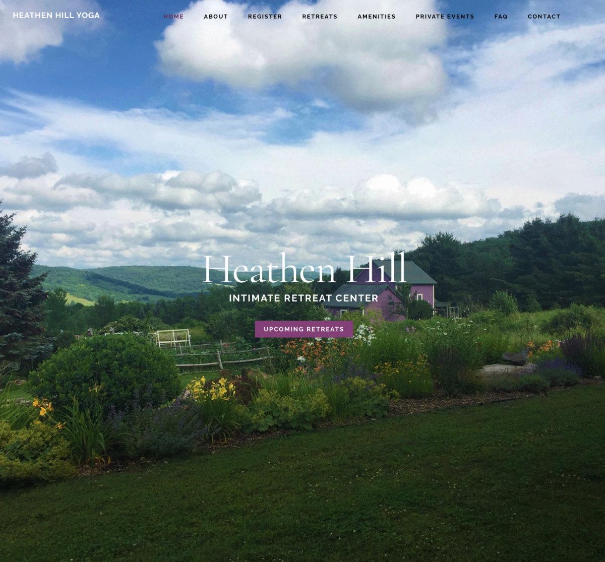 A yoga website listing retreats.  Visit website heathenhillyoga.net
