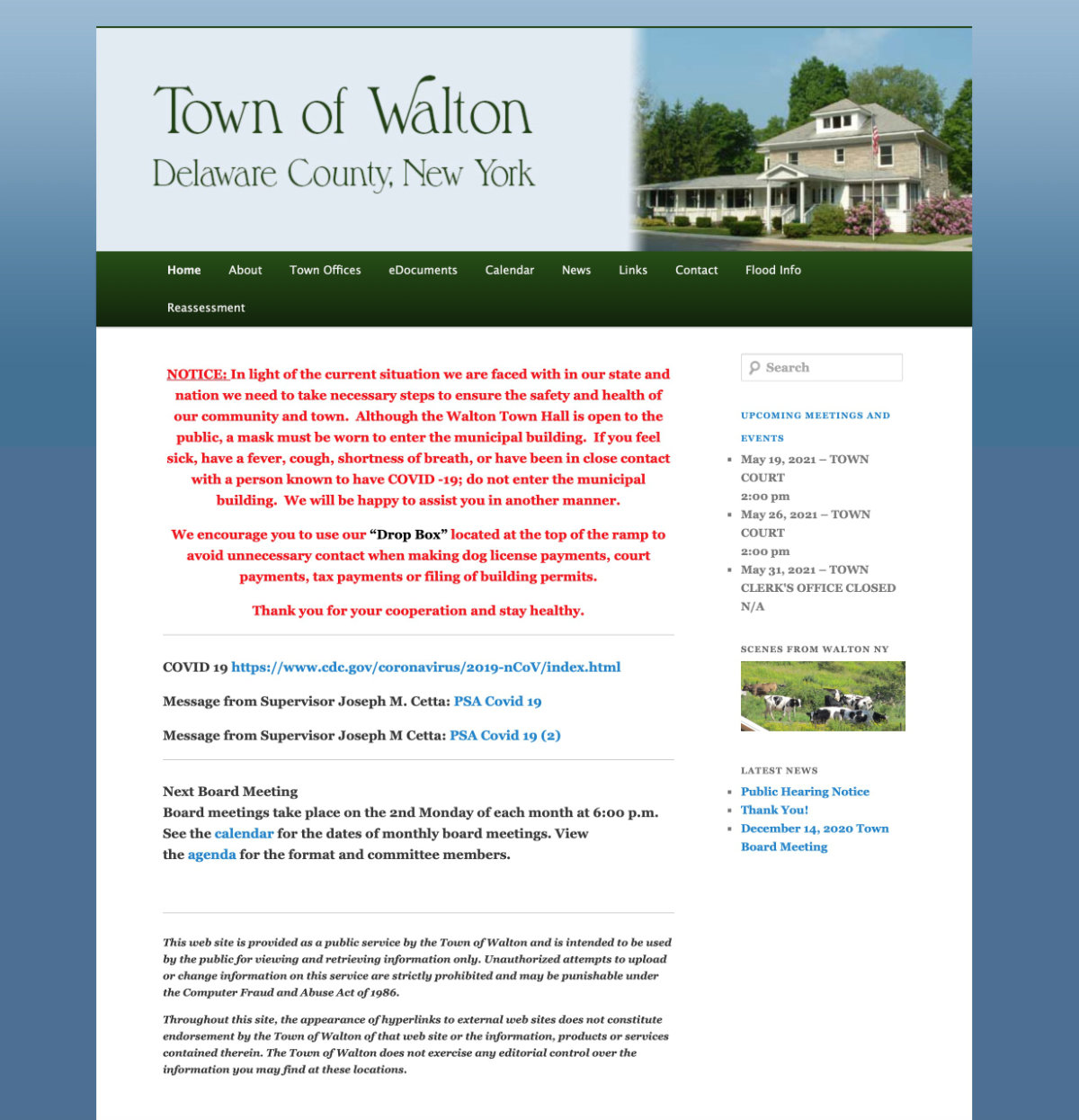 A government website for residents of the Town of Walton NY.  Visit website townofwalton.org